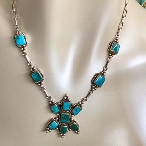 Navajo Sterling Turquoise Three Hogans Necklace
